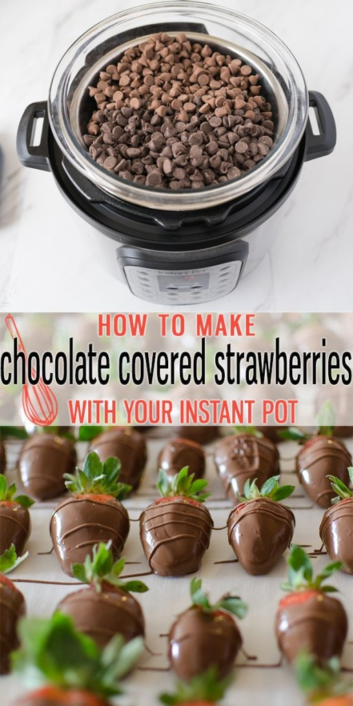 Chocolate Covered Strawberries have never been easier! Thanks to the Instant Pot, melting the chocolate and keeping that chocolate warm and melted is done with ease! Save some money this Valentine's Day and make your own Chocolate Covered Strawberries. |Cooking with Karli| #valentinesday #dessert #chocolatecoveredstrawberries #strawberries #dippingchocolate #instantpot #hack #lifehack