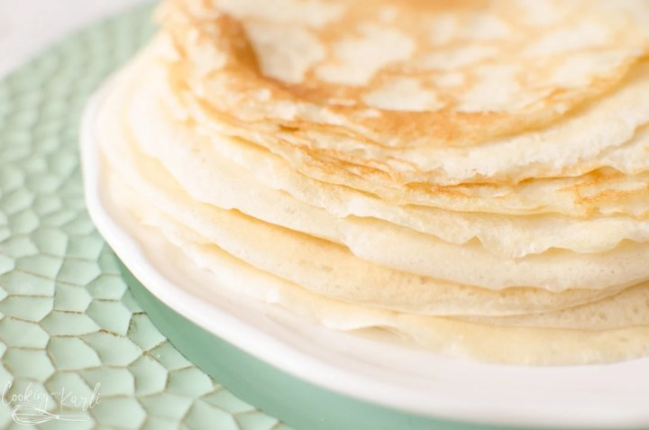 crepes piled onto a plate