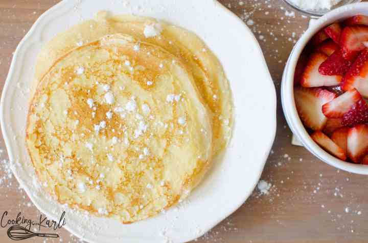 Hot of the frying pan, these crepes are ready for their fillings.