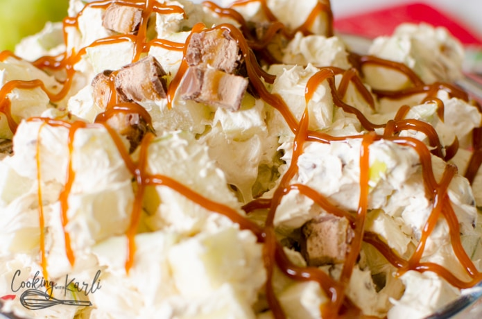 caramel drizzle on the top of the caramel apple salad.