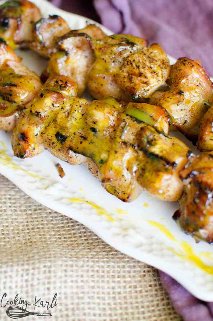 Grilled kabobs are a great dinner for summer, especially these honey mustard and bacon chicken kabobs.