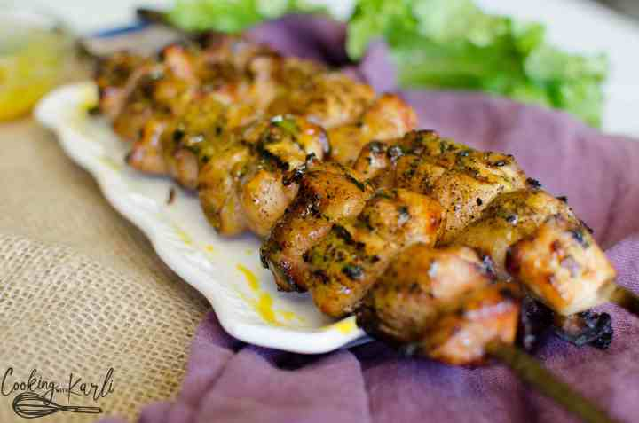 Bacon and chicken kabobs that are brushed with a homemade honey mustard sauce while being grilled.