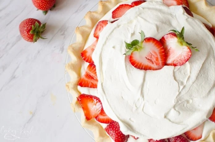 Fresh Strawberries and Cream pie is the perfect fresh dessert for summer.