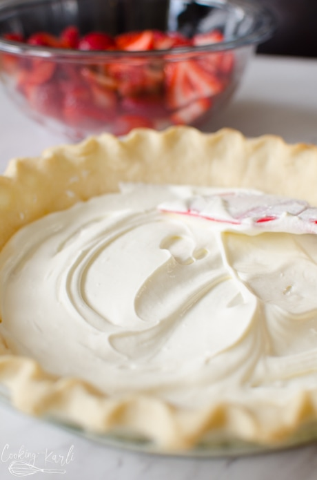 This simple pie has an easy layering of fresh strawberries and creamy filling.