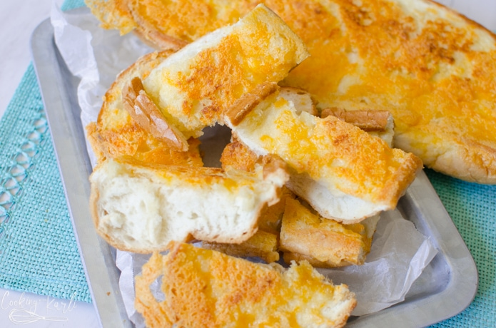 Garlic cheese bread is a great side because it is so fast and easy to make.
