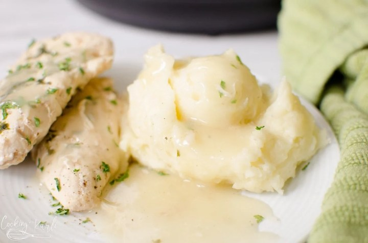 chicken with mashed potatoes and gravy in the Instant Pot