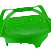 CookingBasics Silicone Vegetable Steamer - Anti-Slip 2018 Premium Quality Silicone Steamer Basket With Handles for Healthy Cooking, Veggies, Seafood, Fruits. Instant Pot Basket. Easy to Clean. Green.
