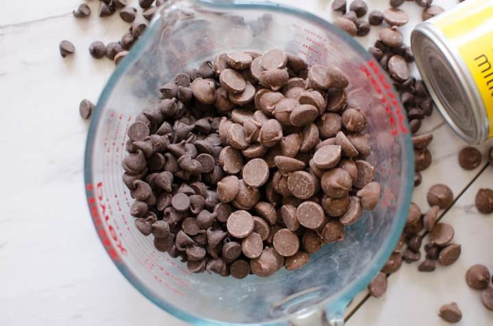 milk chocolate and semi sweet chocolate chips in a bowl
