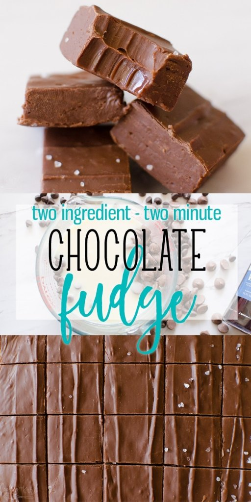 Fudge is a creamy, smooth chocolate square made from just two ingredients and takes about two minutes to make! This Fudge Recipe comes out perfect every time. Quick, easy and delicious! |Cooking with Karli| #fudge #microwave #easy #fast #sweetenedcondensedmilk #christmas #recipe