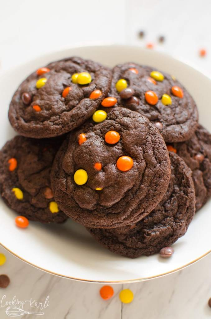 chocolate peanut butter cookies with Reese's pieces