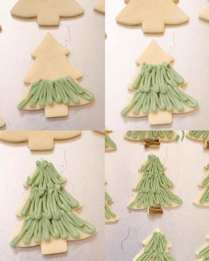 Christmas sugar cookies decorated like a Christmas tree