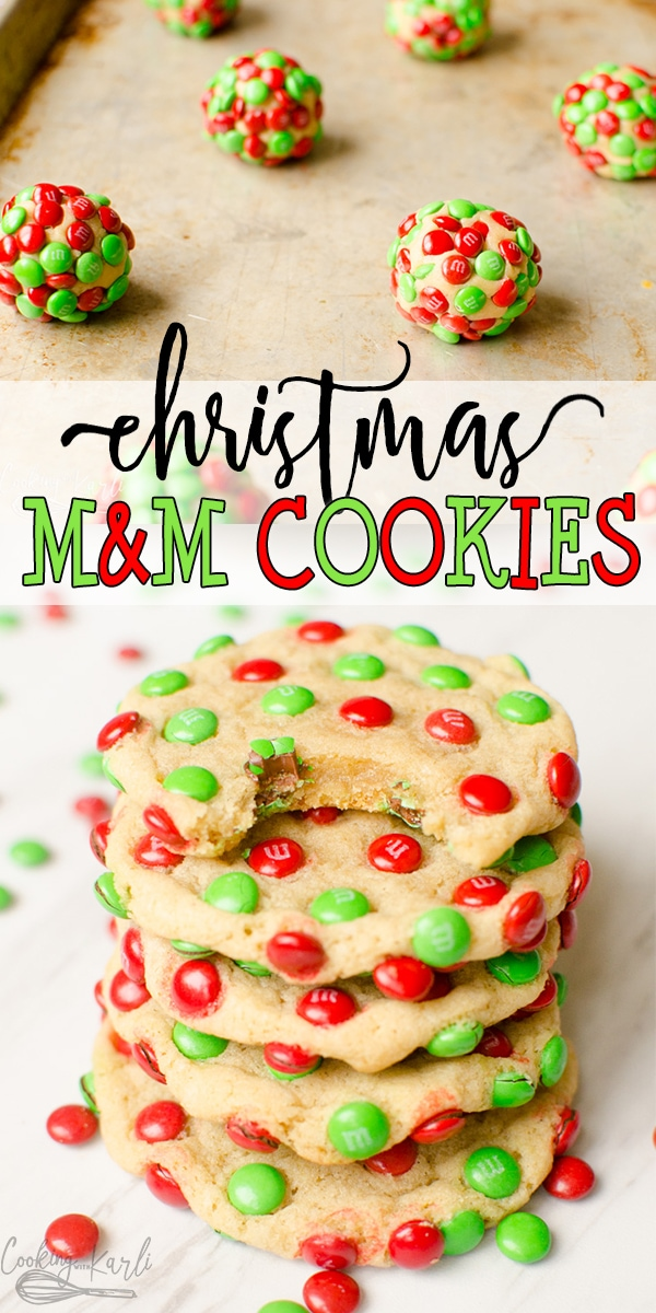 M&M Christmas Cookies are a delicious, chewy vanilla cookie covered in Mini Holiday M&M's. These easy Christmas cookies are not only festive looking but taste great too. |Cooking with Karli| #christmascookie #m&ms #mmcookie #recipe