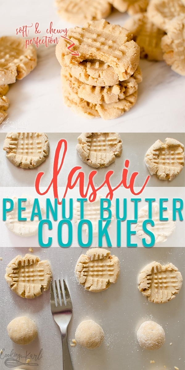 Peanut Butter Cookies are a classic soft and chewy cookie that is full of Peanut Butter Flavor! The dough comes together quickly using standard ingredients- this is sure to be your family's new favorite peanut butter cookie recipe!  Cooking with Karli  #peanutbutter #peanutbuttercookies #crisscross #recipe #easy #classic