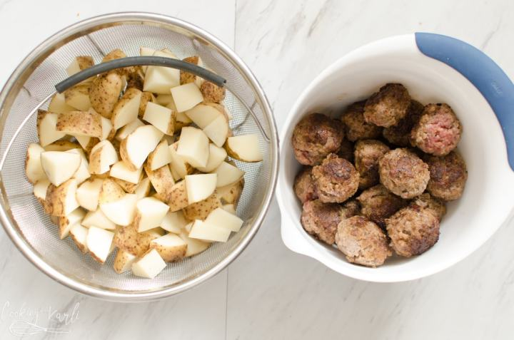 Salisbury steak meatballs and potatoes
