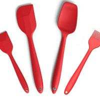 """Silcony Set of 4 Pure Silicone Heat Resistant Spatulas, Spoon, Basting Pastry Brush (11""""-8.4"""") Perfect for Baking, Mixing, Stirring, Battering, Marinating, Decorating Food & Much More..."""