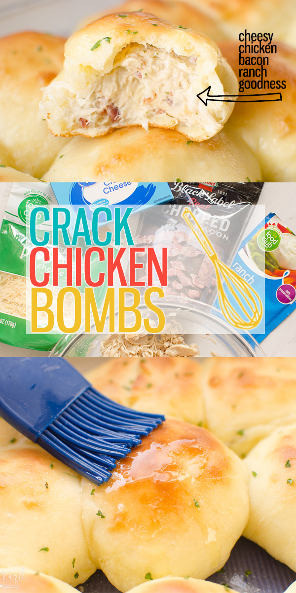 Crack Chicken Bombs are shredded chicken, cream cheese, dry ranch mix and bacon all mixed together and baked inside of a bread bomb! These are a delicious appetizer, snack or meal!|Cooking with Karli| #crackchicken #chickenbomb #breadbomb #chicken #bacon #ranch #appetizer #recipe #rotisseriechicken