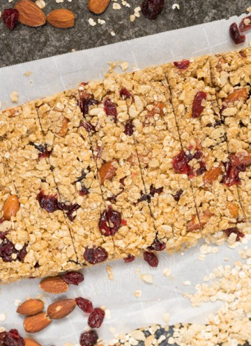 cranberry almond granola bars cut