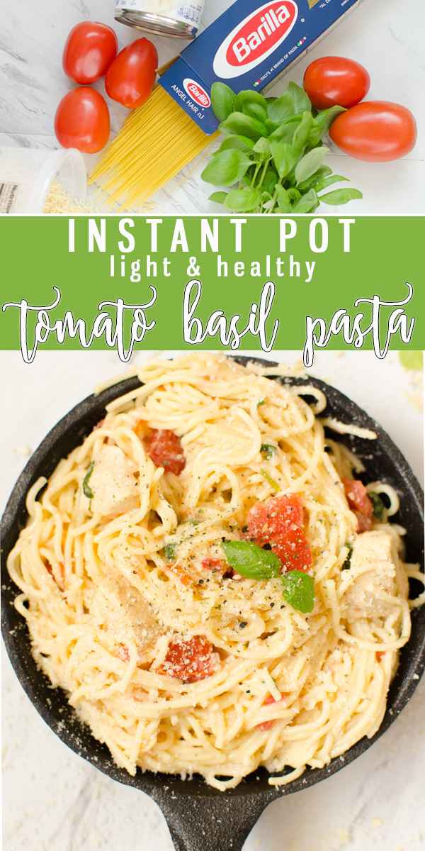 One Pot Tomato Basil Pasta is a light pasta dish of Angel Hair Pasta, chicken chunks, tomatoes, basil all covered in a creamy garlic parmesan sauce. This Pasta dish is healthy, satisfying and filling. |Cooking with Karli| #instantpotrecipe #instantpot #tomatobasil #pasta #chicken #light #healthy #recipe #dinner #dinneridea