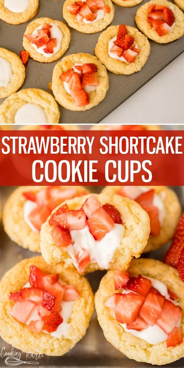 Strawberry Shortcake Cookie Cups are equally easy as they are delicious! Made with a boxed cake mix, a special creamy filling and fresh strawberries on top, this will be your new favorite cookie cup.. hands down!  Cooking with Karli  #strawberry #shortcake #strawberryshortcake #cookiecups #easy #boxedcakemix #cakemixcookies #recips