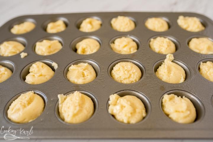 cookie dough in the mini cupcake tin