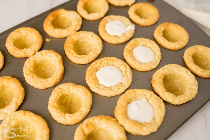 special vanilla filling put inside of the cookie cups
