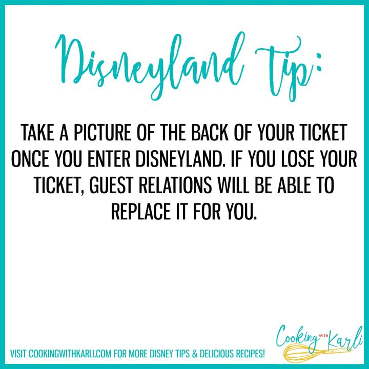 disneyland tip about taking a picture of your ticket