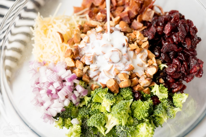 broccoli, bacon, craisins, almonds, parmesan cheese, red onion and dressing in a bowl for broccoli salad.