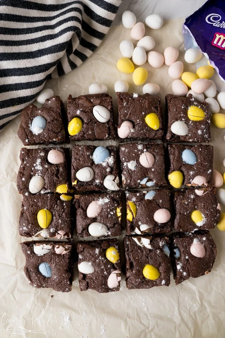 easter brownies with Cadbury mini eggs, baked, sliced and served