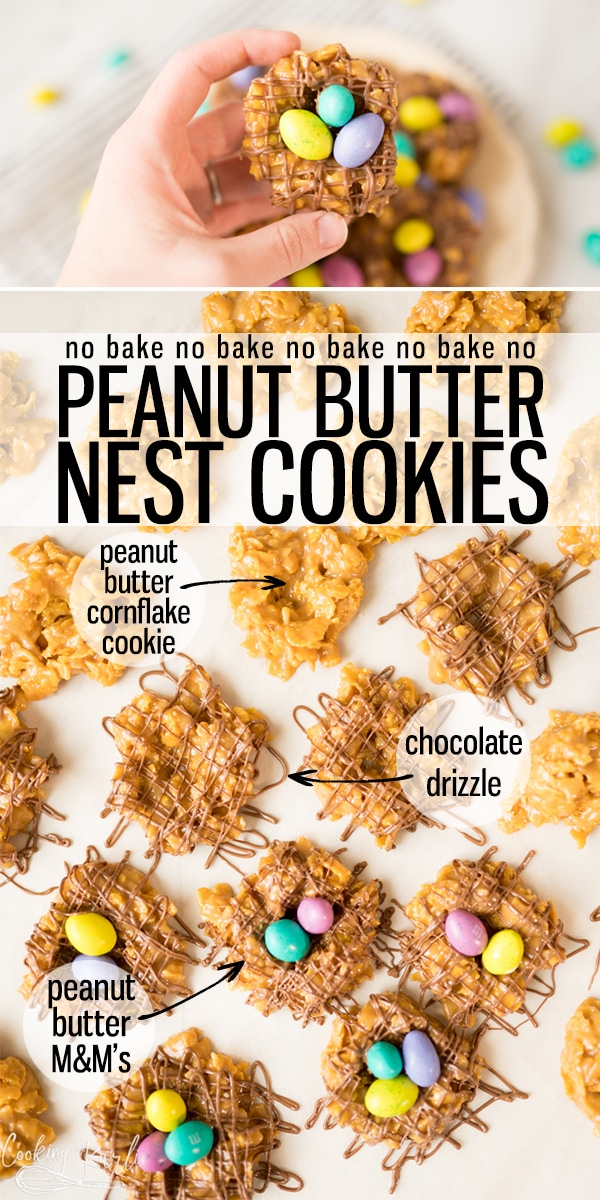 Peanut Butter Bird's Nest Cookies are a fun twist on a classic! These no bake peanut butter cornflake cookies get a fun easter twist thanks to cute little Egg shaped M&M's. |Cooking with Karli| #easter #eastercookies #easterdessert #nobake #nestcookies #minieggs