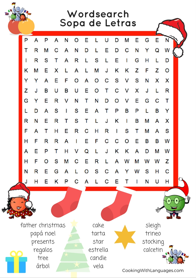 Christmas Wordsearch Easy Cooking With Languages