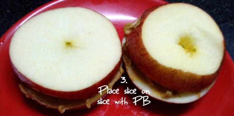 Apple peanut butter sandwich