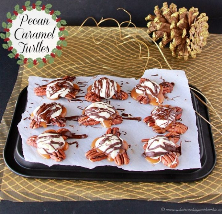 Pecan Caramel Turtles are a simple to make holiday classic! by www.cookingwithruthie.com