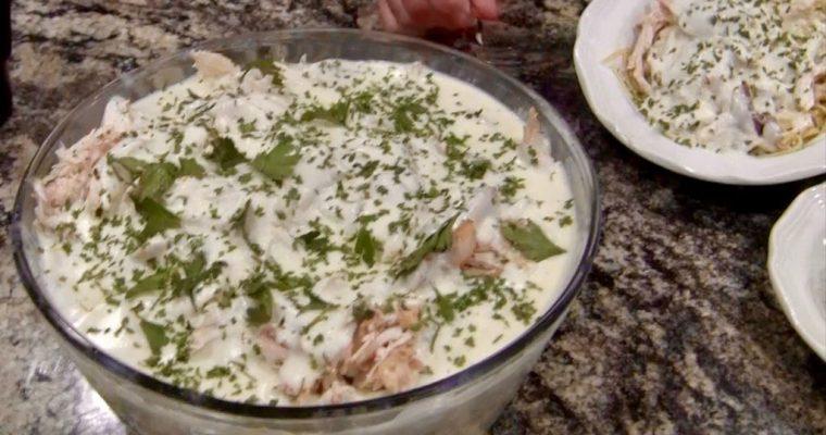 Homemade Alfredo Sauce with Rotisserie Chicken over Linguini