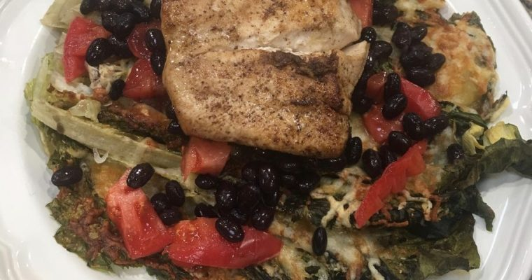 Mahi-Mahi with Black Beans and Tomato over Baked Romaine