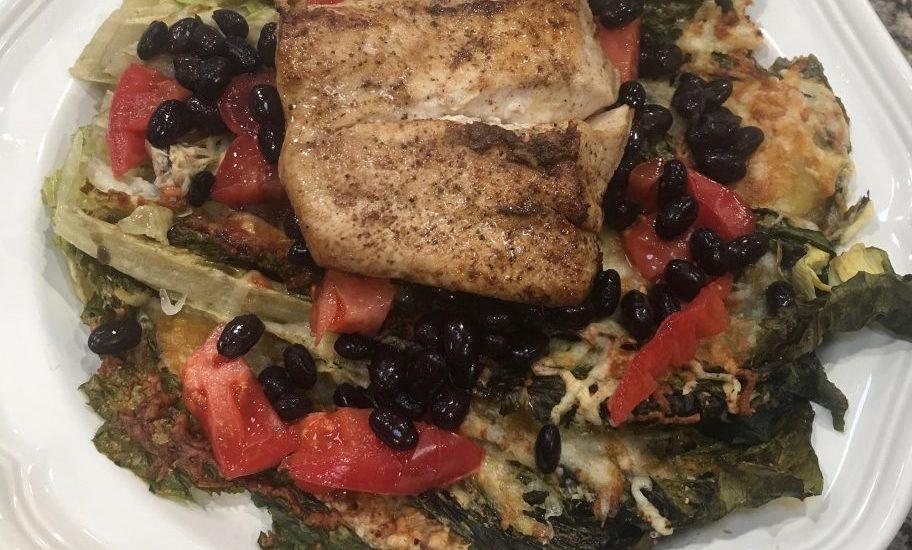 Mahi-Mahi with Black Beans and Tomato over Baked Romaine