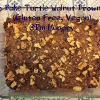 No Bake Turtle Walnut Brownies (Gluten Free, Vegan) - Secret Recipe Club