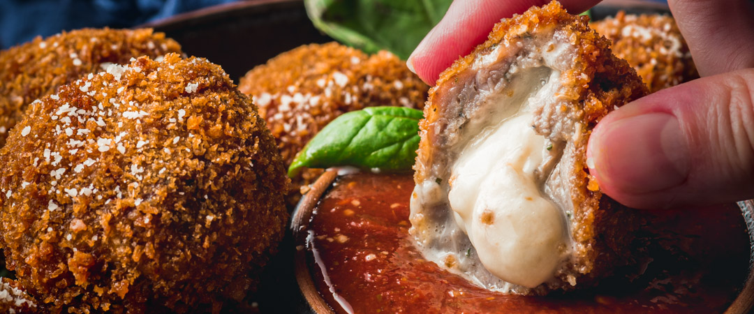 Mozzarella Stuffed Sausage Meatballs