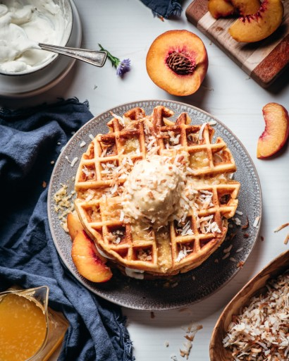 Passion Fruit and Peach Waffles