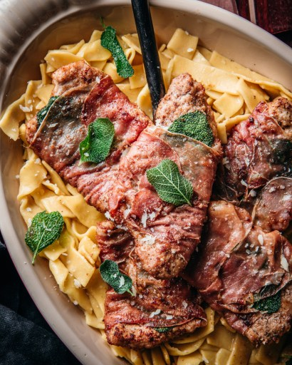 Veal wrapped in prosciutto with sage