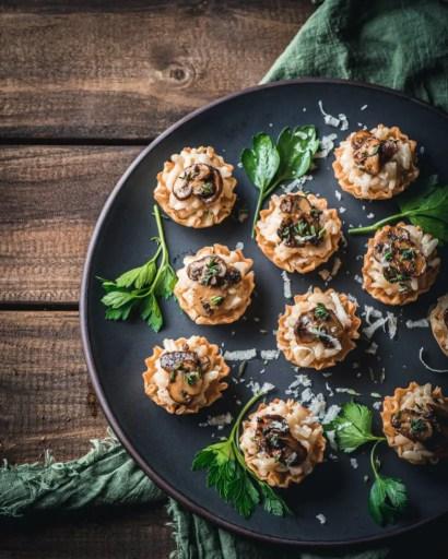 Parmesan Risotto and Mushroom Ragù Phyllo Cup Bites