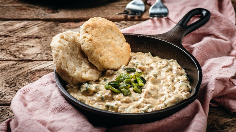 Southern Style Biscuits and Roasted Poblano Sausage Gravy