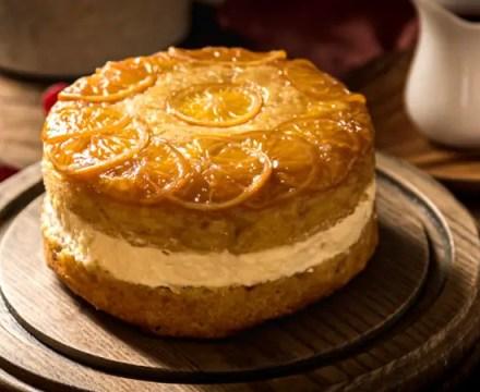 Meyer Lemon Olive Oil Cake with Bavarian Cream & Raspberry Agrodolce