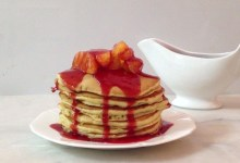 بان كيك البرتقال مع صوص الفراولة .  الطعم رااااااااااااااااائع  المكونات:  2 كو