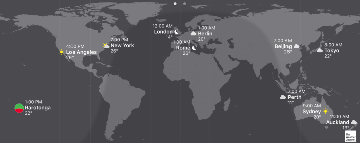 timezones compared to the Cook Islands