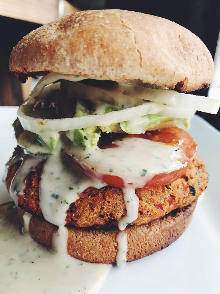 Italian Salmon Burger with Basil Garlic Yogurt Sauce- Cook It Healthier