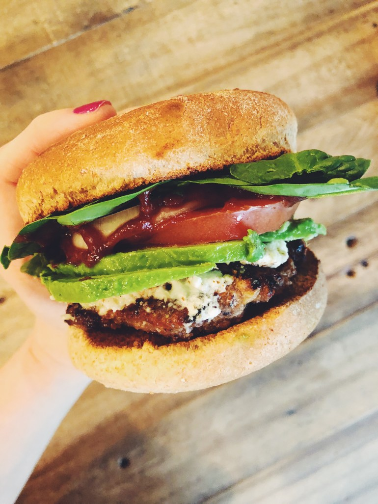 Lemon-Garlic Turkey Burger with Fresh Goat Cheese -Cook it Healthier