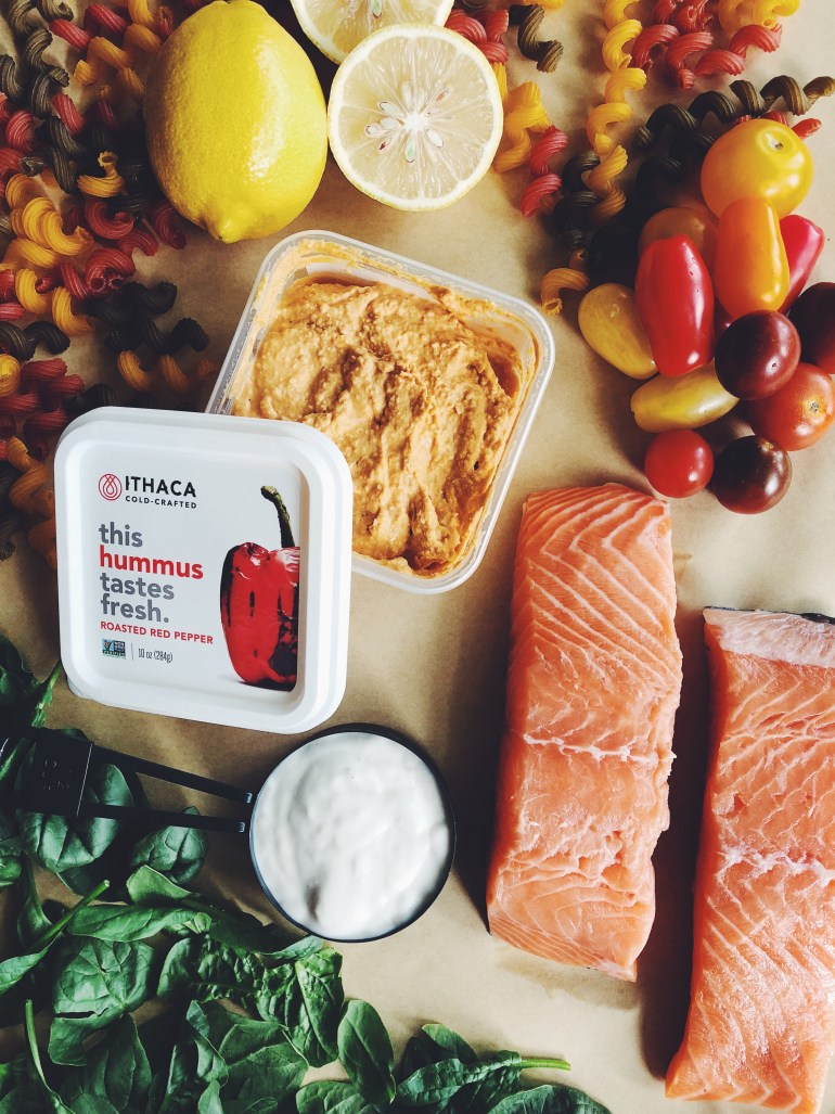 RECIPE | Ithaca Cold Crafted Hummus Salmon & Pasta | CookItHealthier.com