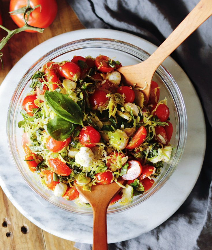 Recipe | Shaved Brussel Sprout Caprese Salad | cookithealthier.com