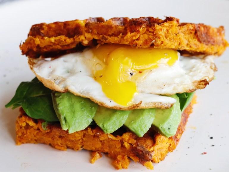 Recipe | Sweet Potato Waffle Breakfast Sandwich | cookithealthier.com