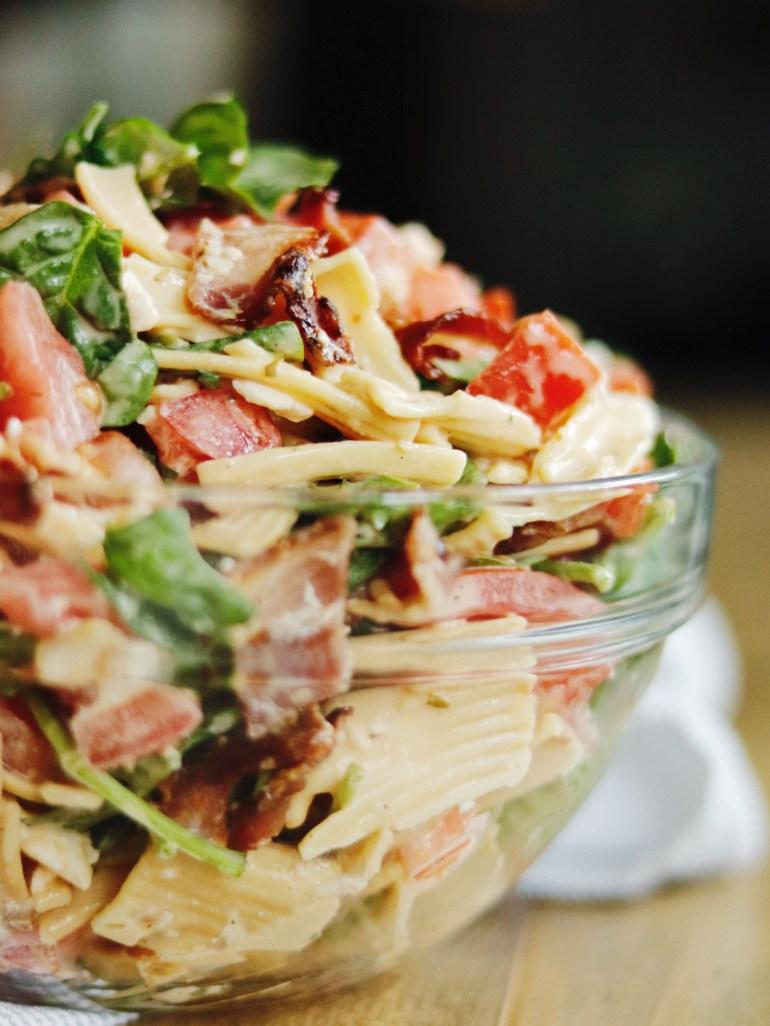 Recipe | B.B.L.T. Pasta Salad with Tessemae's Buffalo Ranch Dressing | cookithealthier.com